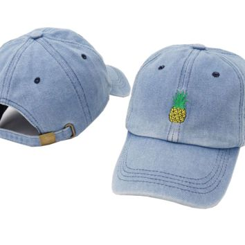 Denim Blue Pineapple Embroidered Cotton Baseball Outdoor Sports Cap Hats
