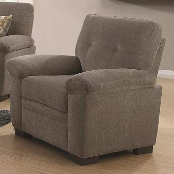 Transitional Micro Velvet Fabric & Wood Chair With Padded Armrests, Light Gray