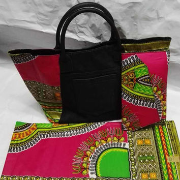WOMEN HAND BAG AFRICAN WAX PRINTS FABRIC SUPER JAVA WAX WITH LEATHER BAG BAG DUTCH WAX FABRIC FOR SEWING