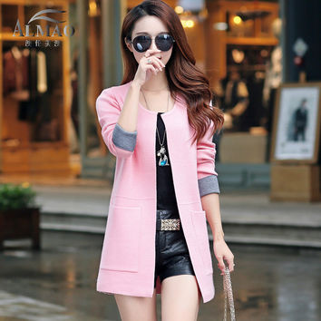 2017 New Spring  Autumn  Women Sweater Cardigans Casual Warm Long Design Female Knitted Sweater Coat  Cardigan Sweater Lady