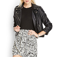 FOREVER 21 Abstract Print Wrap Skirt Cream/Black