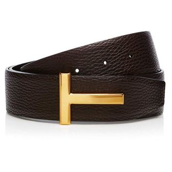 "Gold ""T"" Leather Belt by Tom Ford"