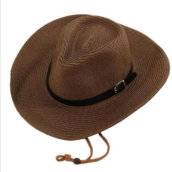 Men And Woman Summer Straw Cowboy Hat Folding Beach Hat Large Brimmed Hat, Sun Cap ,Bucket Hat 5 Colors