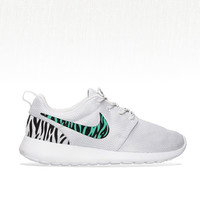 Custom Nike Roshe Run sneakers, South Beach teal, black Zebra pattern, Womens gray custom nike roshe, zebra pattern