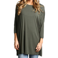 Army Green Piko 3/4 Sleeve Tunic