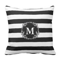Black and White large Stripe Monogrammed Pillow