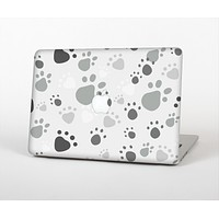 The Gray & White Large Paw Prints Skin Set for the Apple MacBook Pro 13""