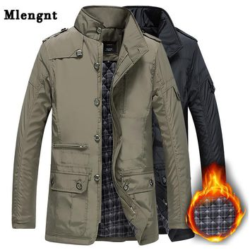Trendy Winter Thick Padded Men Jacket Autumn Classic Windbreaker Khaki Zipper Warm Outerwear Cotton Parka Varsity Male Long Trench Coat AT_94_13