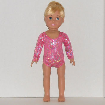 American Girl Doll Clothes Hot Pink and Silver Gymnastics Leotard fits 18 inch Dolls