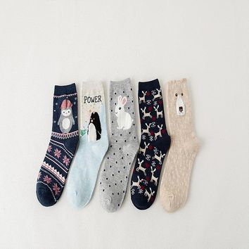 New cute shy rabbit Pikachu penguin love deer socks animal 3D cartoon fun sweet girl autumn and winter warm socks