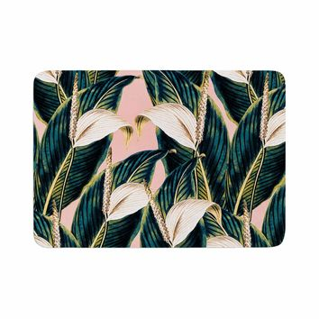 "mmartabc ""Botanical Flowers Vintage"" Pink Green Nature Floral Illustration Digital Memory Foam Bath Mat"