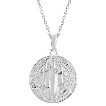925 Sterling Silver Saint Benedict Small Protection Catholic Medal Necklace 19""