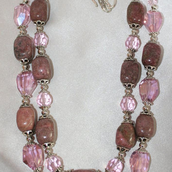 Natural Rhodonite Pink Crystal Statement Necklace, Chunky Natural Gemstone Nugget Jewelry, Bold Faceted Crystal Necklace, Big Bold Statement