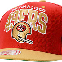 NFL Mitchell and Ness 49ers Arch Helmet 2Tone Red Snapback Hat at Zumiez : PDP
