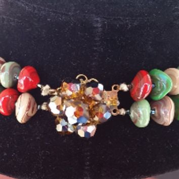 Austrian crystal gemstone double strand necklace with malachite, agate and jasper