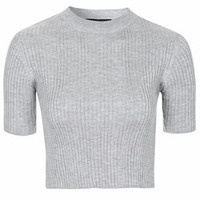 TALL Wide Ribbed Funnel Neck Crop Top - Grey Marl