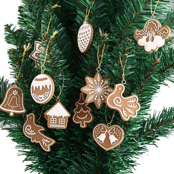 11-piece Polymer Clay Fimo Christmas Tree Ornaments Snowflake Bell Xmas Party Home Christmas Decor Navidad Decoration