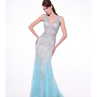 Nude & Blue Crystal Embellished V-neck Sheer Dress 2015 Prom Dresses