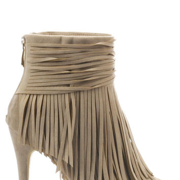 Lilah Fringe Booties - Nude
