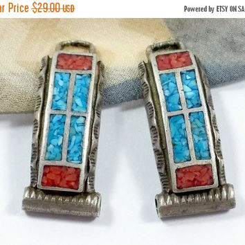Native American Watch Tips Inlaid Turquoise Chips Red Coral Chips Window Pattern Sterling Silver Ladies Womens Size Vintage Watch Tips