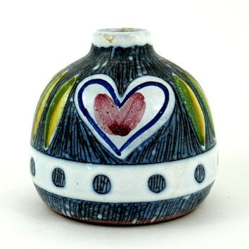 Mid Century Modern Swedish Vase Brålanda Sweden with Stylized Heart