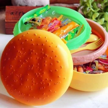 Cute Hamburger Double Tier Bento Lunchbox Burger Box Children School Food Container Tableware Set with Fork Kids Christmas Gift
