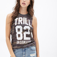 FOREVER 21 Trill Brooklyn Muscle Tee Olive/White