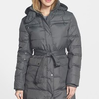 Women's Larry Levine Down & Feather Fill Coat with Detachable Hood,