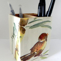 Bird and Bamboo Pencil holder by Sybillinart on Etsy