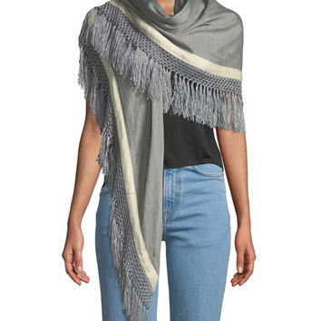 Rag & Bone Sport Stripe Silk-Wool Poncho w/ Stripes & Fringe