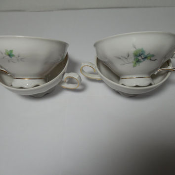 Royal M Bavaria Pattern 125 FOUR Replacement tea cups, lot of four, Vintage teacups. Bavaria china, teacups, vintage china