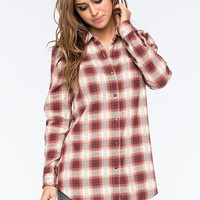 Full Tilt Red Ethnic Womens Boyfriend Flannel Shirt Red  In Sizes