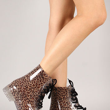 Luann Jelly Leopard Print Lace Up Rain Boot