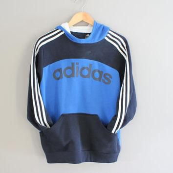 Adidas Hoodie Blue Big Adidas Logo 3 Stripes Sweatshirt Fleece Lining Cotton Pullover