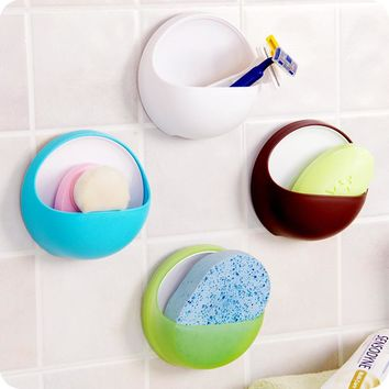 Plastic Suction Cup Soap & Toothbrush Holder | Sponge Container Storage