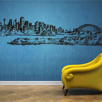 kik2536 Wall Decal Sticker Sydney Australia Opera House city of bedroom living room
