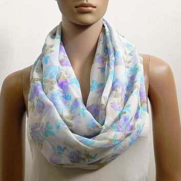 Floral Infinity Scarf Shawl White Blue Chunky Fashion Scarves for Women Cowl Scarf Long Tube Scarf Loop Summer Scarf Gift for her Handmade
