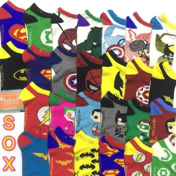Adult Size Cartoon Socks Superman Ionman Spiderman Batman Stripe Hero Man Boyfriend Cotton Daily Work Holiday Home School Male