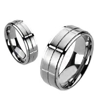 Accelerate - FINAL SALE Brushed rectangular cut polished titanium men's ring