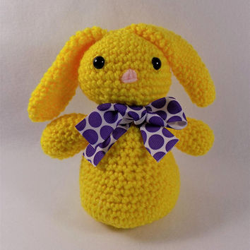 Crocheted Yellow Bunny, Easter Bunny, Plush Rabbit, Easter Basket Stuffers, Floppy Bunny Ears, Rabbit Decor, Bunny Baby Shower, Toy Bunny