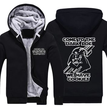 Mens Casual 2015 Movie Star Wars: The Force Awakens Darth Vader Come to the Dark Side Thick Winter Hoodies Coats