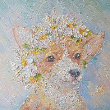 "Oil Painting Custom Pet Dog Portrait ""Pretty"" Original Impasto Still Life Wall Decor Personalized gift Contemporary Art Photo to Painting"
