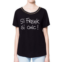 T - SHIRT WITH JEWEL NECKLINE - T - shirts - Woman | ZARA United States