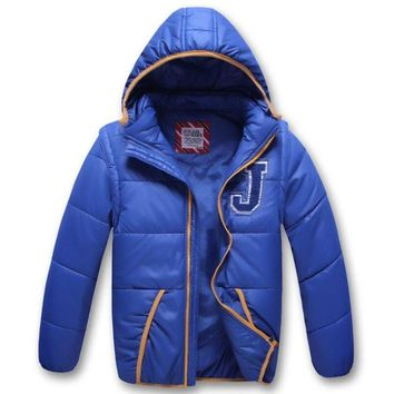 Korean children winter jacket for boys Windbreaker Windproof Coat Girls vest coat Detachable cap sleeve winter Jacket For Kids