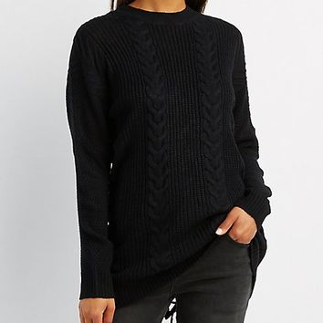 Cable Knit Lace-Up Back Tunic | Charlotte Russe