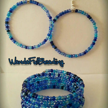Aqua Trans AB Mix Memory Wire Bracelet & Earrings - $10.00 - Handmade Jewelry, Crafts and Unique Gifts by WandaFulBeading