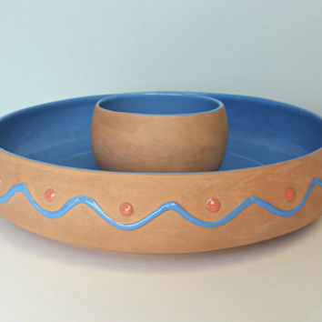Vintage South Western Style Tortilla Chip Salsa Guacamole Bowl, Terracotta Dip Snack Bowl Set, Aztec Southwestern Style Home Decor, Guac Set