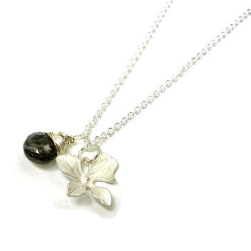 Bridal Necklace Silver Orchid and Labradorite AAA Grade on Delicate Sterling Silver Chain Ultra Luxe Bridesmaid Necklaces