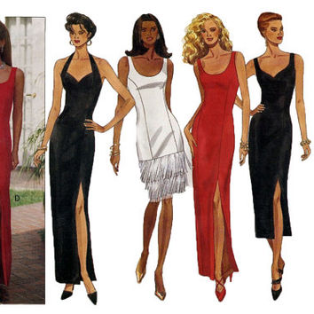 90s Sexy EVENING GOWN PATTERN Cocktail Dress Pattern Party Prom Halter Dress Tiered Hem Butterick 6748 Size 14 16 18 Womens Sewing Patterns