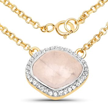 LoveHuang 4.03 Carats Genuine Rose Quartz and White Topaz Pendant Solid .925 Sterling Silver With 18KT Yellow Gold Plating, 18 Inch Chain